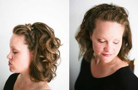 Crown Braid with Curly Short Hair for Women