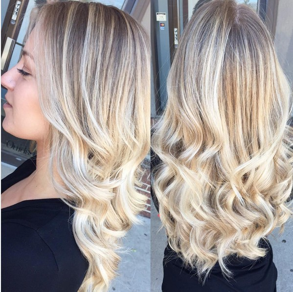 Curled Long Hair - Blonde .Balayage Ombre ombrè