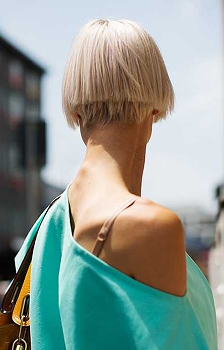 Back View of Straight and Blunt Bob Hairstyle