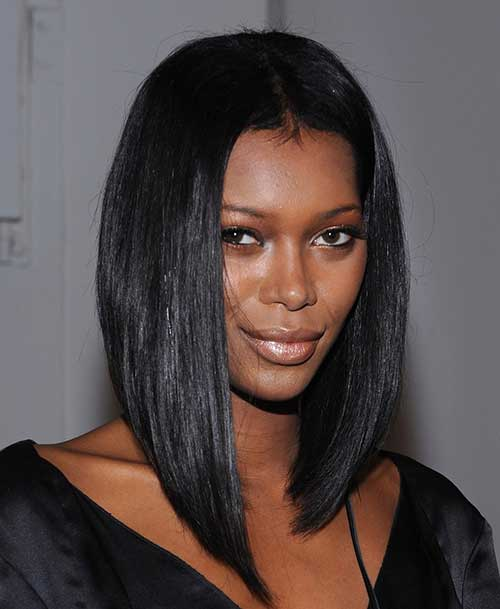 Long Inverted Bob Hairstyles for Black Women 2018