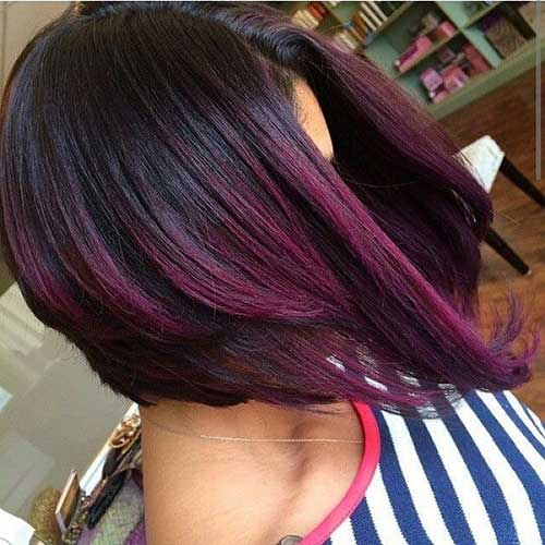 Hairstyles Purple Colored Bobs Pictures