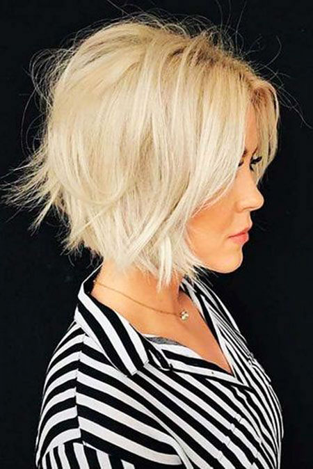 Blonde Casual Hairtyle, Blonde Bob White Razored