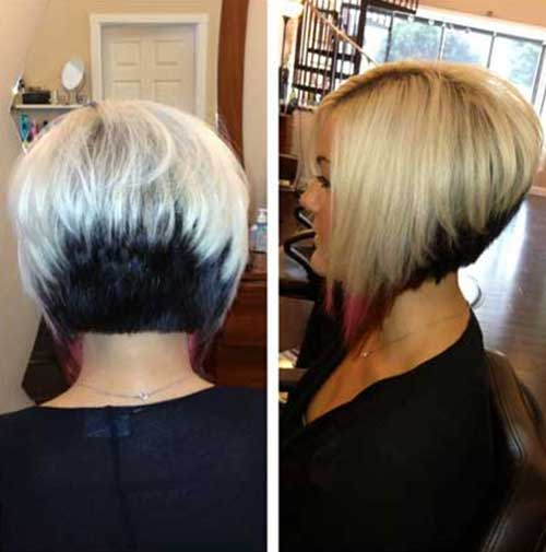 Inverted Two Colored Bob Haircuts
