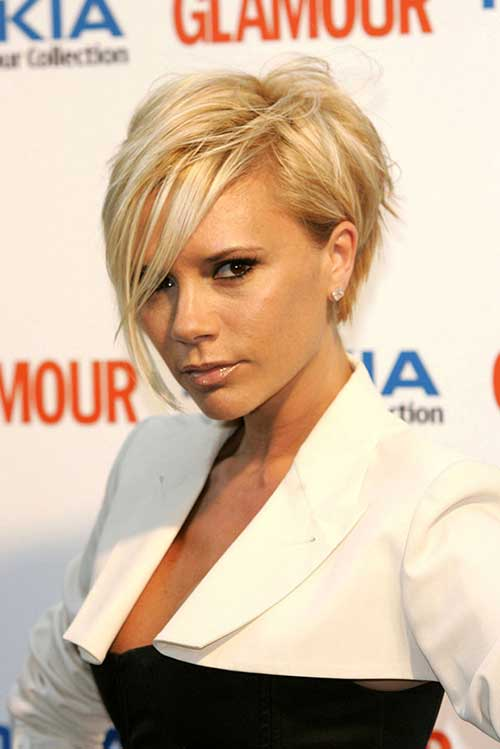 Victoria Beckham Layered Bob Blonde Hairstyle