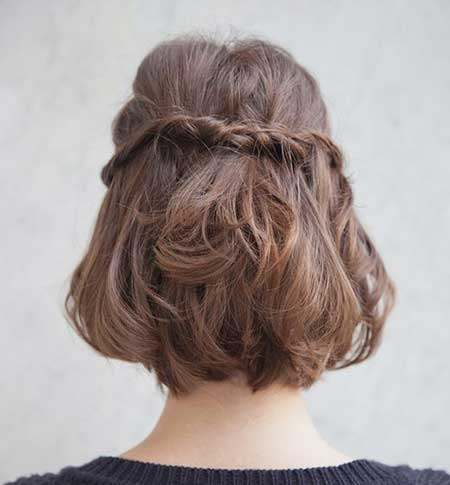 Back View of Twisted Braid Hairstyle with Inverted Hair