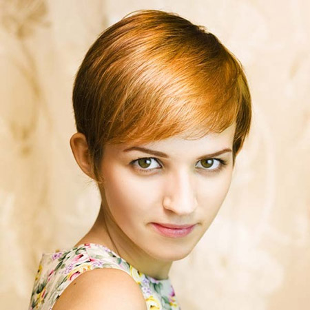 Shiny Auburn Brown Pixie Cut