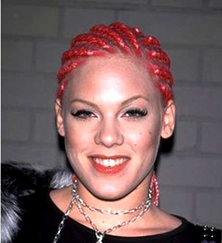 Red Colored Braided Hairstyle for Black Women