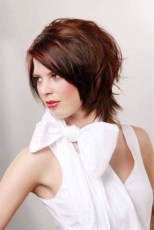 Layered Dark Bob Haircuts for Round Face