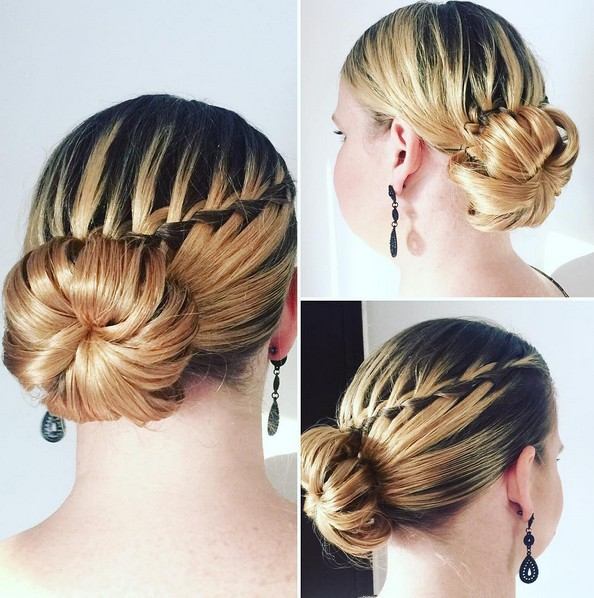Chic Bun Updo Hairstyle with Waterfall Braid - Prom Hairstyles 2018