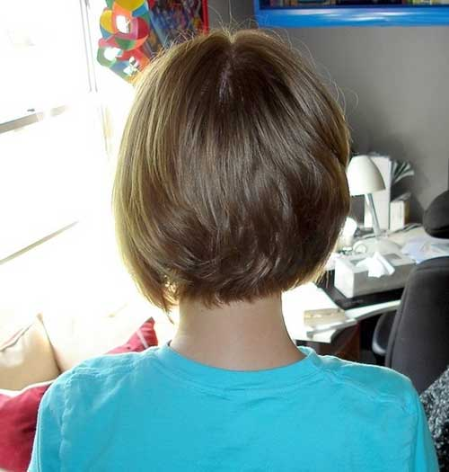 Brown Cute Bob Back Look