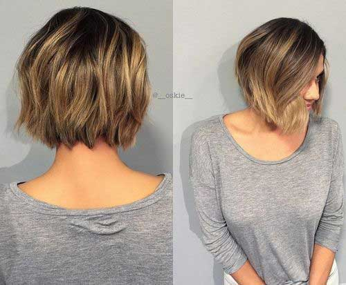 Back View of Layered Ombre Bob Hairstyles 2018