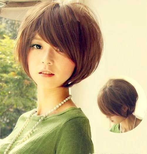 Brown Hair Color Short with Side Bangs