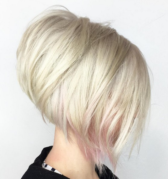 Stacked, Blond Short Bob Hairstyle with Pink Highlights