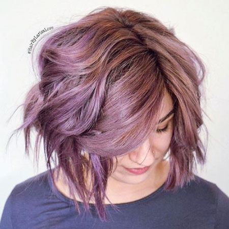 Purple Bob Hair Wavy