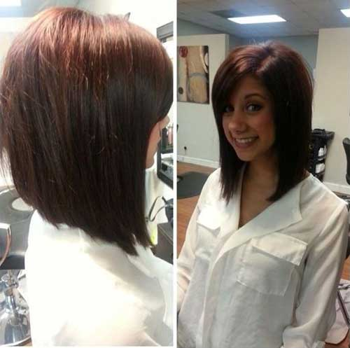 Long Angled Brown Straight Bob Hair