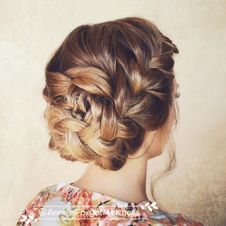 Easy Loose Braid Updo Hairstyles Back View - Prom, Wedding Hairstyle Ideas