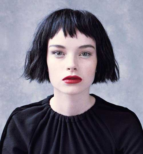 Razored Bob Haircut with Bangs